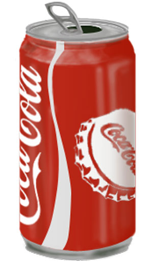 Coke can drawing done completely in photoshop/. No photo used